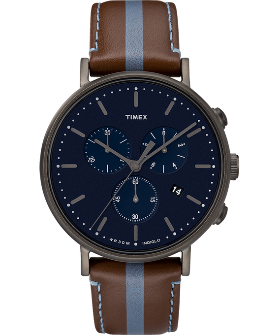 Fairfield Chronograph 41mm Leather Watch with Stripe