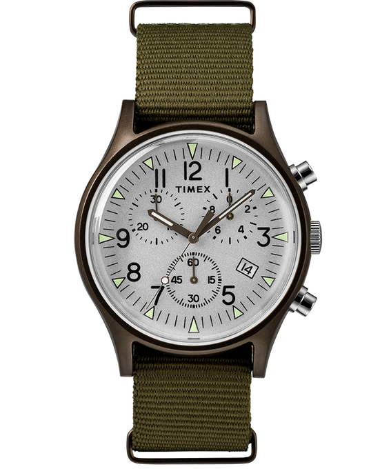 MK1 Aluminum Chronograph 40mm Nylon Strap Watch Green/Silver-Tone large