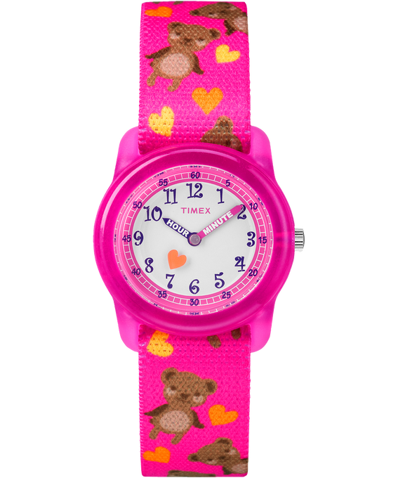 Kids Analog 32mm Nylon Strap Watch Pink/White large