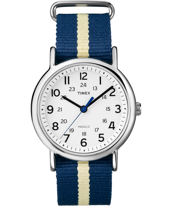Weekender 38mm Nylon Stripe Strap Watch Silver-Tone/Blue/White large