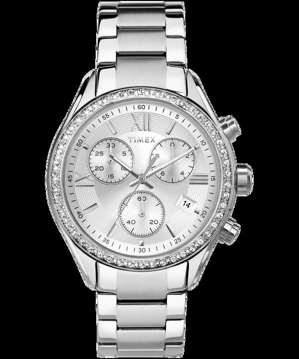 Reloj Miami de 38mm con cristales de Swarovski® Stainless-Steel/Silver-Tone large