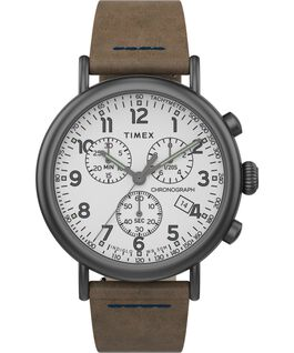 Reloj cronógrafo Standard de 40mm con correa de cuero Gunmetal/Brown/White large