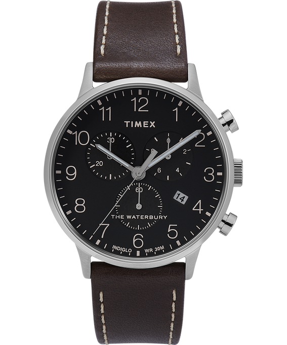 Waterbury-40mm-Classic-Chrono-Leather-Strap-Watch Stainless-Steel/Brown/Black large