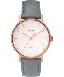 Reloj Fairfield de 37mm con correa de cuero Dorado rosa/Gris/Crema large