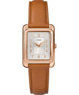 Reloj Meriden de 25mm con correa de cuero Tono oro rosa/Cuero oscuro/Plateado large
