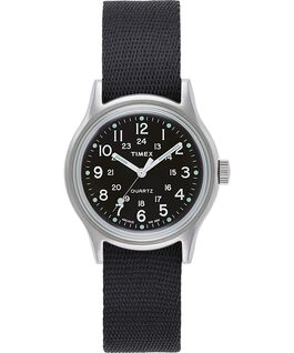 Reloj militar MK1 de 36mm con correa de otomán Plateado/Negro large