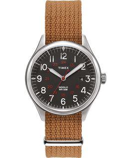 Reloj Waterbury United de 38mm con correa de tela Acero inoxidable/Crema large
