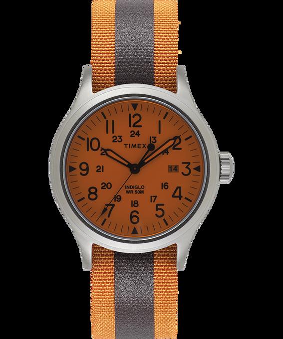 Reloj Allied de 40mm con correa de tela reflectante reversible Plateado/Blanco large