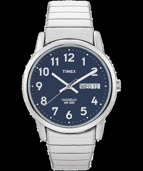 Reloj Easy Reader Day Date de 35mm con fecha y día y correa extensible Silver-Tone/Stainless-Steel/Blue large