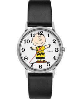 Reloj Timex x Peanuts de 34mm con diseño exclusivo de Todd Snyder que incluye a Charlie Brown y correa de cuero Acero inoxidable/Negro/Gris large