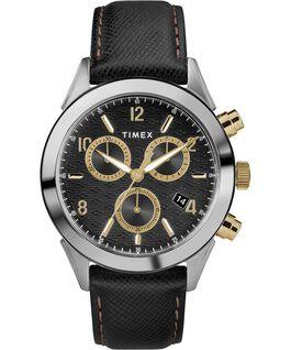 Reloj cronógrafo Torrington para hombre de 40mm con correa de cuero Acero inoxidable/Negro/Dorado large