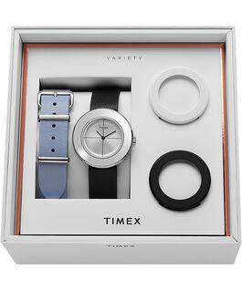 Reloj Variety de 34mm con correa de cuero, set Plateado/Negro large