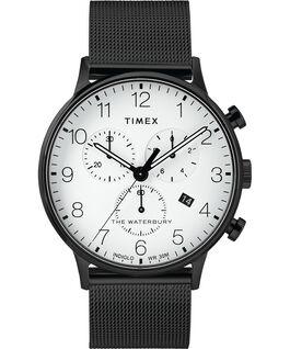 Reloj cronógrafo Classic Waterbury de 40mm con correa de malla metálica Negro/Blanco large