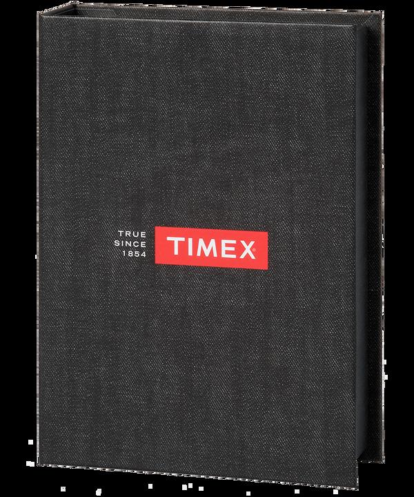 Set de regalo de reloj Weekender de 40mm con correa de cuero Silver-Tone/Brown/Cream large