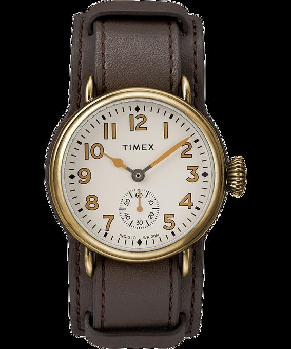 Reloj Welton de 38mm con correa de cuero Tono bronce/Marrón/Crema large