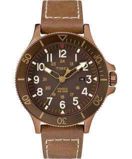 Reloj Allied Coastline de 43mm con correa de cuero Bronze-Tone/Brown large