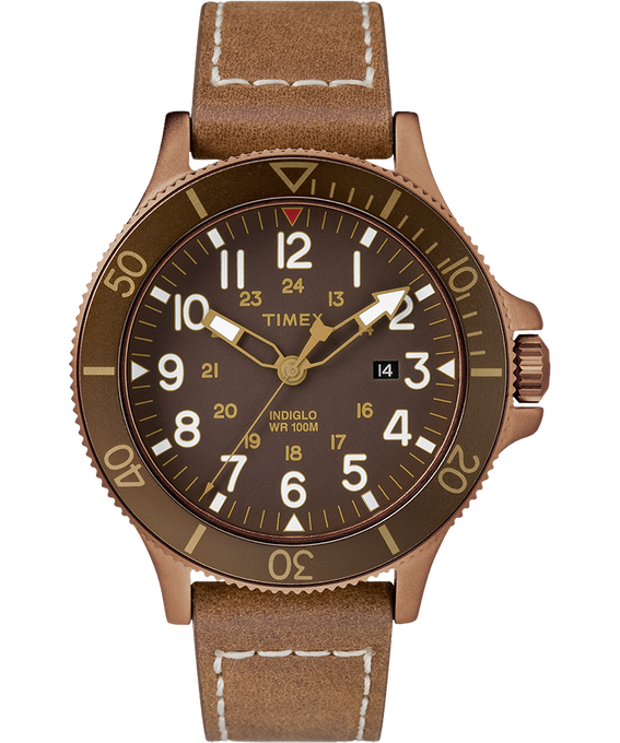 Reloj Allied Coastline de 43 mm con correa de cuero Bronze-Tone/Brown large