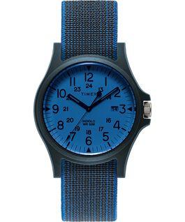 Reloj Acadia de 40mm con correa de tela elástica Azul/Blanco large