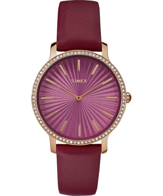 Metropolitan Starlight 34mm Leather Watch Gold-Tone/Red large