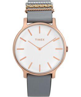 Reloj Transcend de 38mm con correa de cuero adornada Dorado rosa/Gris/Blanco large