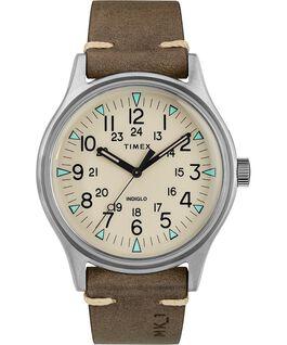Reloj de acero MK1 de 40mm con correa de cuero Plateado/Marrón/Natural large
