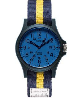 Reloj Acadia de 40mm con correa de tela Azul/Blanco/Azul large