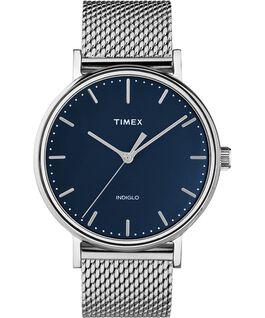 Reloj Fairfield de 41mm con correa de malla metálica de acero inoxidable Plateado/Acero inoxidable/Azul large