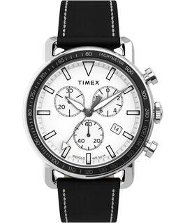 Reloj cronógrafo Port de 42mm con correa de piel Acero inoxidable/Negro/Blanco large