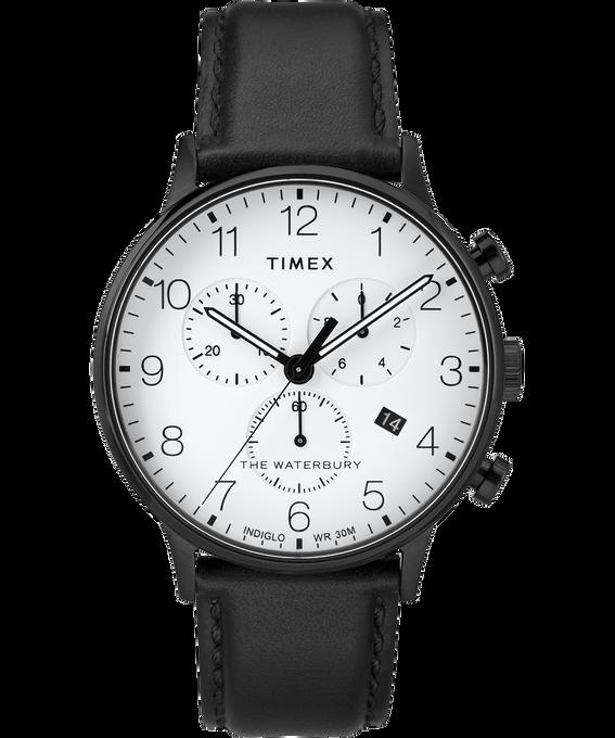 Waterbury-40mm-Classic-Chrono-Leather-Strap-Watch Black/White large
