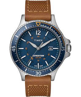 Reloj solar Expedition Ranger de 43mm con correa de cuero Plateado/Dorado/Azul large