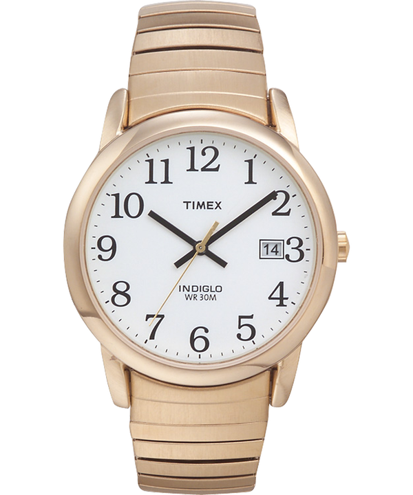 Reloj Easy Reader de 35 mm con correa extensible Gold-Tone/White large