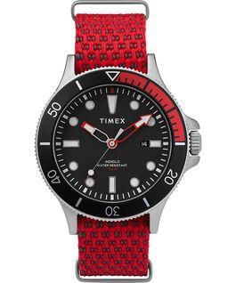 Reloj Allied Coastline de 43mm con bisel giratorio y correa de tela Silver-Tone/Red/Black large