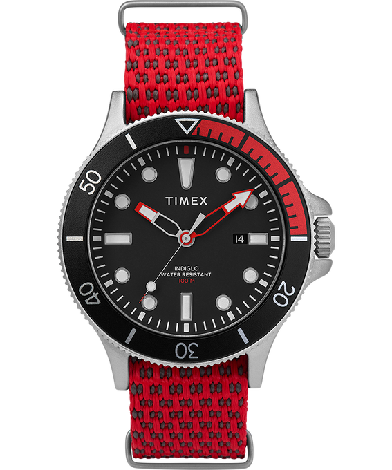 Reloj Allied Coastline de 43mm con bisel giratorio y correa de silicona Plateado/Rojo/Negro large