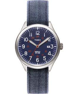 Reloj Waterbury United de 38mm con correa de tela lavada a la piedra Acero inoxidable/Azul large