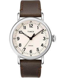 Reloj Standard de 40mm con correa de cuero Plateado/Marrón/Crema large