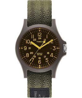 Reloj Acadia de 40 mm con correa de tela y cristal coloreado Verde/Negro large
