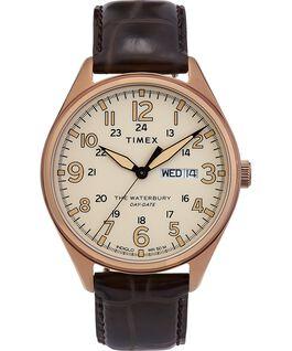 Reloj Waterbury Traditional Day Date con fecha de 42mm con correa de cuero Dorado/Marrón large