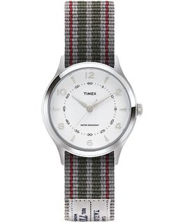 Reloj Whitney Village de 36 mm con correa reversible de otomán reversible-1 Acero inoxidable/Blanco large