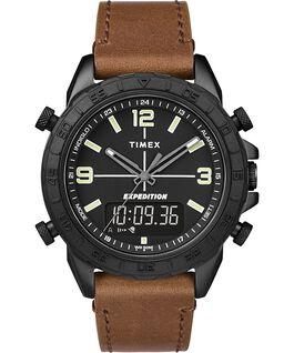 Reloj combinación analógico/digital Expedition Pioneer de 41mm con correa de cuero de cambio rápido Negro/Marrón large