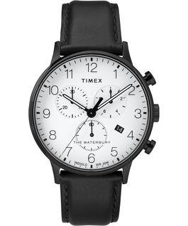 Reloj cronógrafo Waterbury Classic de 40mm con correa de piel Negro/Blanco large