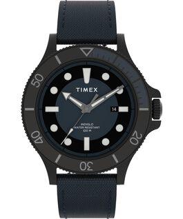Reloj Allied Coastline de 43mm con correa de tela Negro/Azul large