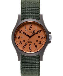 Reloj Acadia de 40mm con correa de tela elástica Negro/Verde/Naranja large
