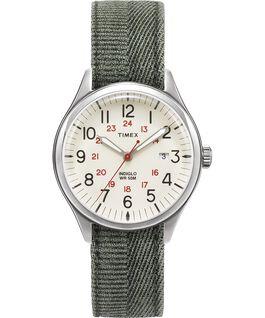 Reloj Waterbury United de 38mm con correa de tela lavada a la piedra Plateado/Verde/Natural large