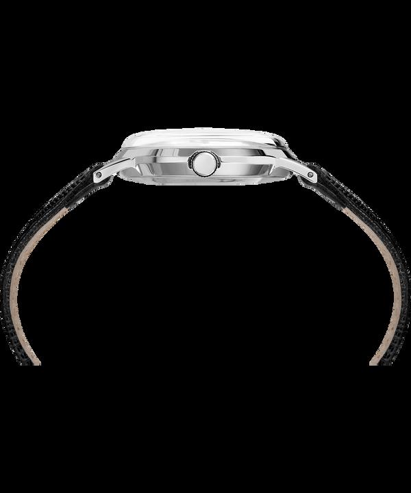 Reloj Marlin® de 34mm de cuerda manual con correa de cuero Black/Silver-Tone large