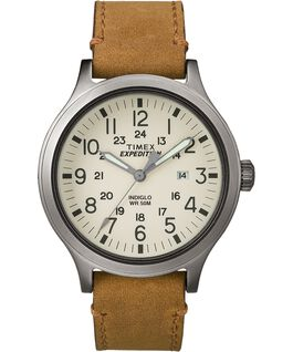 Expedition Scout 43mm Leather Watch Gray/Tan/Natural large
