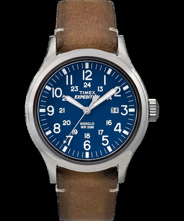 Reloj Expedition Scout de 40mm con correa de cuero Silver-Tone/Tan/Blue large