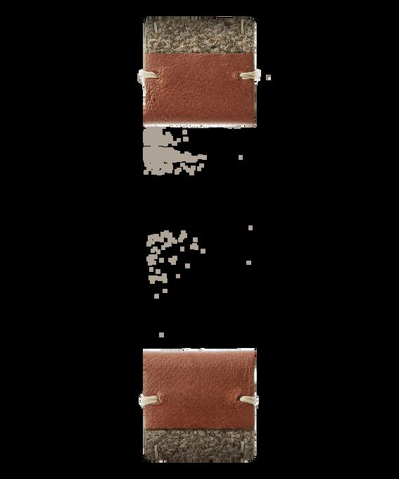 Correa de dos piezas de cuero marrón/fieltro dorado  large