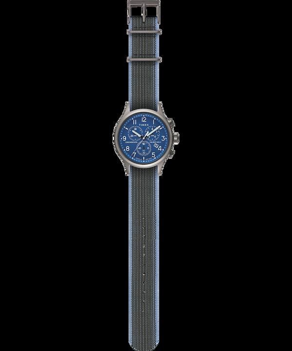 Reloj cronógrafo Allied de 42mm con correa de tela elástica Plateado large