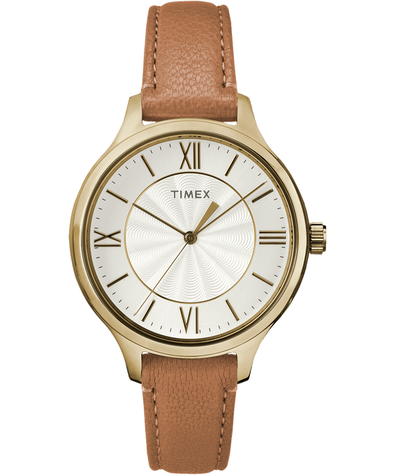 Peyton 36mm Leather Watch Gold-Tone/Brown/Silver-Tone large
