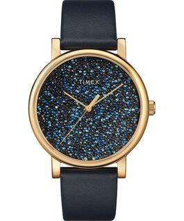 Reloj Crystal Opulence con esfera completa de Swarovski de 38mm con correa de cuero Dorado/Azul large